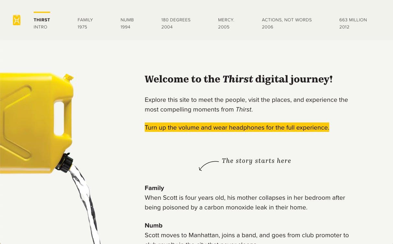 charity: water - Thirst Digital Journey