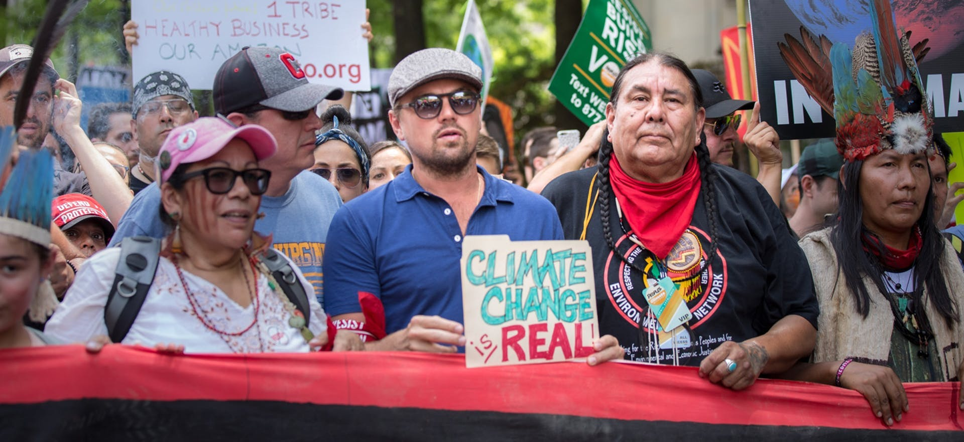 Leonardo DiCaprio marches alongside indigenous leaders for climate justice