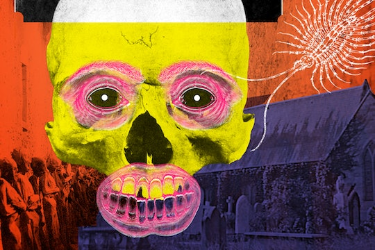 Collage. A haunted skull with a face drawn over it floats above spooky imagery of a catacomb and a church graveyard.