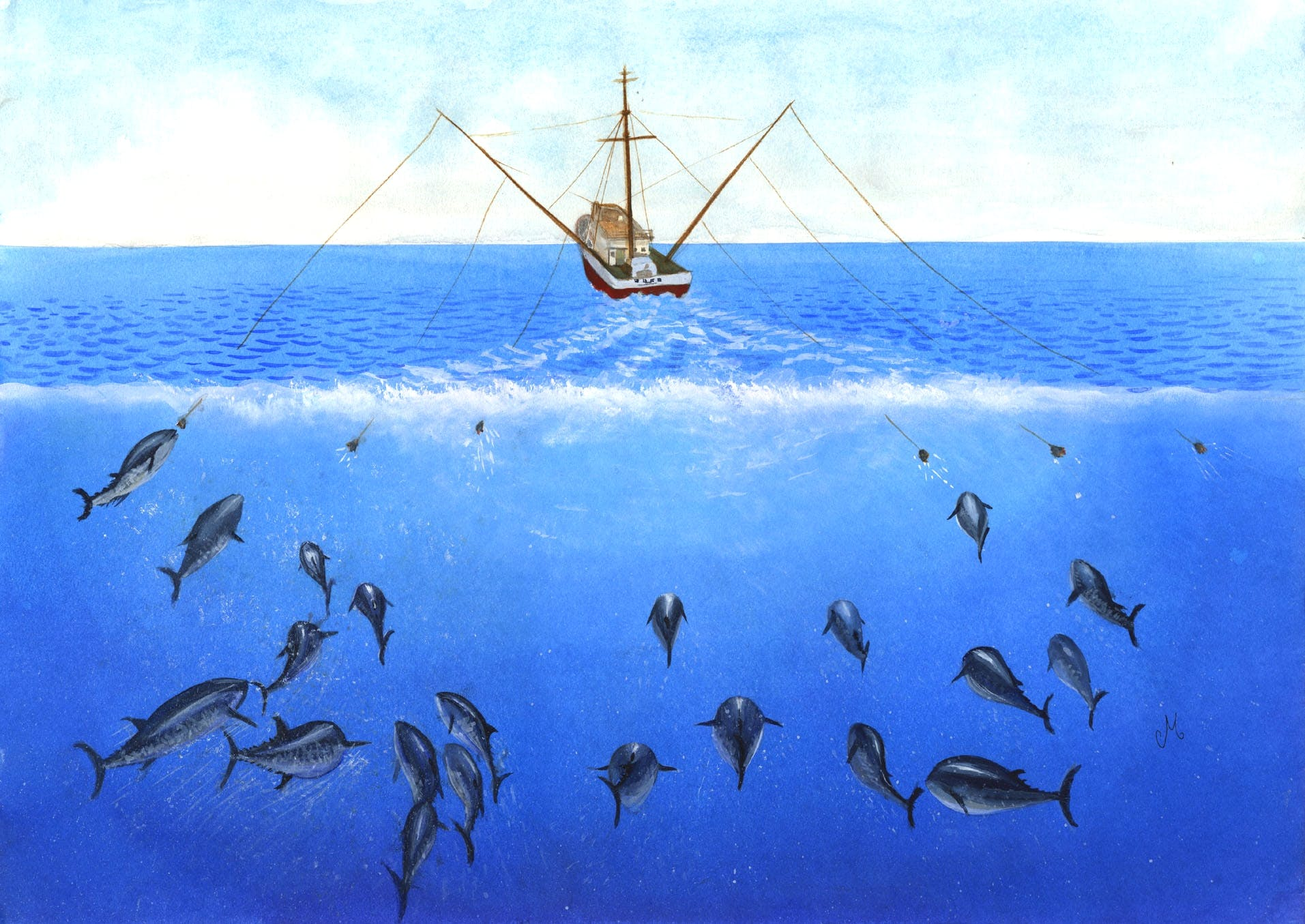 A painting of a fishing boat with multiple fishing lines catching tuna
